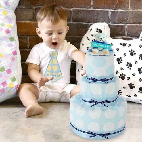 プリティパッチ&パステルドットおむつケーキ