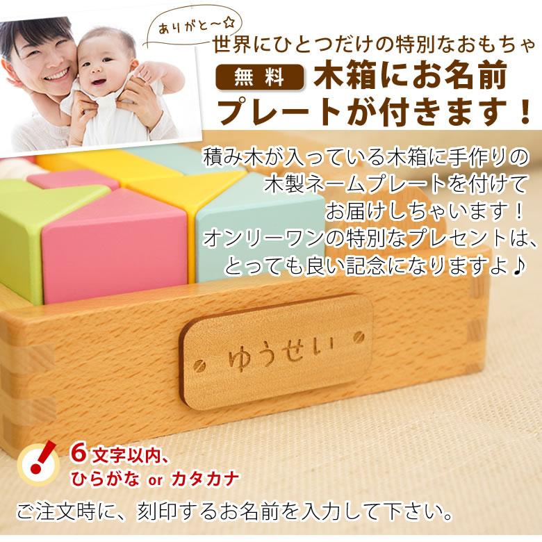 木箱はお名前入りのプレートをお付けします