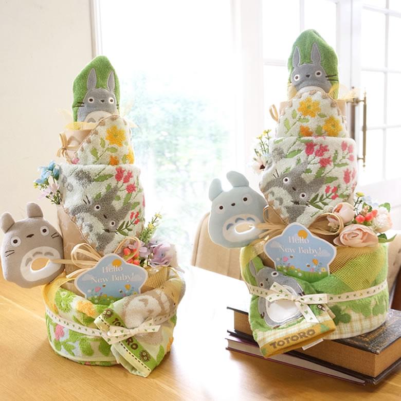 世界中で大人気のジブリキャラクター!となりのトトロのとってもかわいいおむつケーキ♪期間限定のパステルなフラワーデザイン!