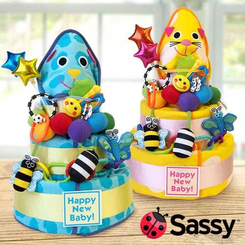 みんなで贈りたいときにおすすめ「Sassyウェルカムフレンズおむつケーキ」