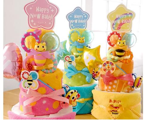 Sassy poppin' partyおむつケーキ