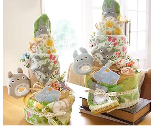 季節感満載のトトロトリプルおむつケーキ
