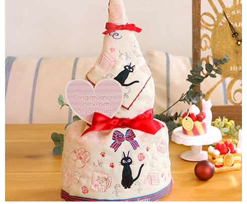 魔女の宅急便の人気キャラクタージジのおむつケーキ
