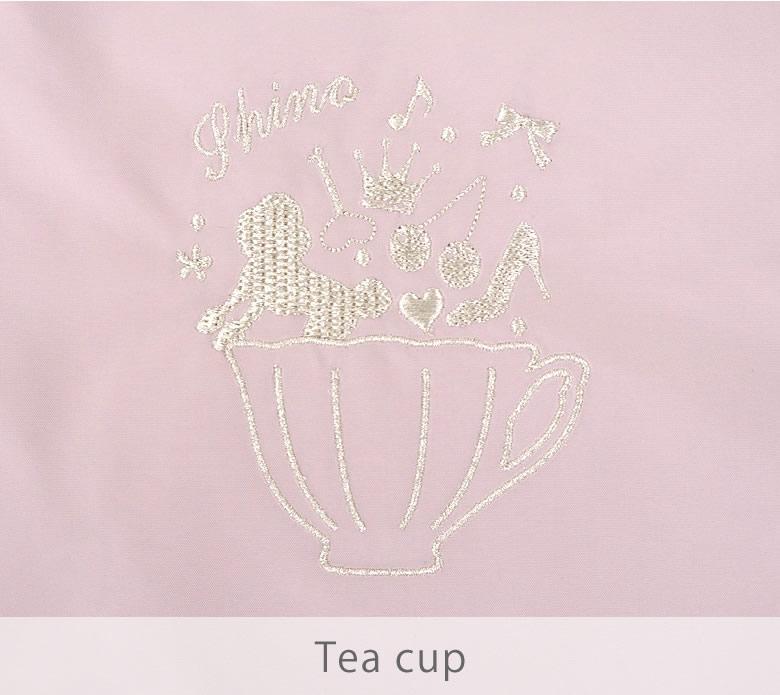 6種類の刺繍デザイン、ティーカップ